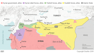 This map shows the location of Turkish, Kurdish and other forces along the Turkey-Syria border.