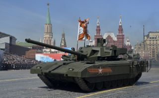 A Russian T-14 Armata main battle tank rides through Red Square in Moscow on May 7, 2015, during a rehearsal for the Victory Day military parade.