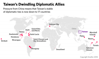 A map showing Taiwan's remaining 17 diplomatic allies in the world.