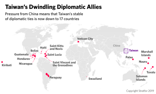 This map shows the 17 countries that still maintain full diplomatic ties with Taiwan.