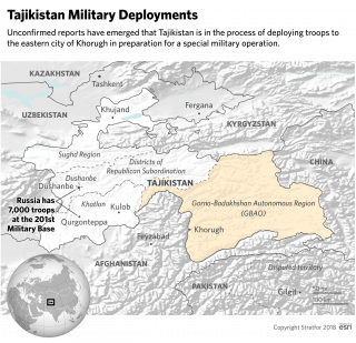 A map showing Gorno-Badakhshan and the location of Russia's 201st military base.