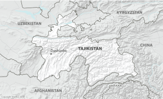 A map shows the location of Tajikistan in Central Asia.