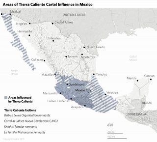 A map shows the areas influenced by the Tierra Caliente cartel and its remnants.