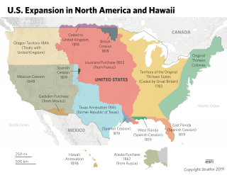 A map showing the United States' expansion over time.