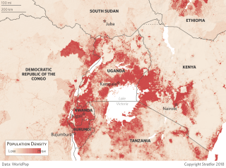 A map of the population density of Uganda