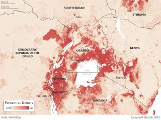 Population Density Map of Uganda and East Africa