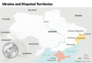 A map showing Ukraine and the disputed areas of Donbas and Crimea.