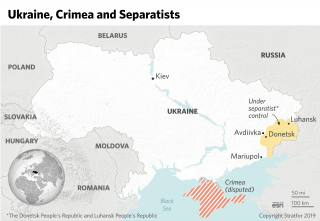 A map of Ukraine, showing Crimea and the separatist areas of Donetsk and Luhansk.