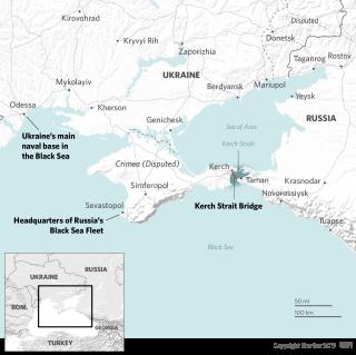 A map shows the Black Sea, Russia, Ukraine, Kerch Strait and the Sea of Azov.