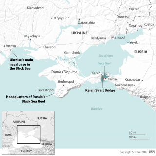 A map showing the Sea of Azov and Kerch Strait