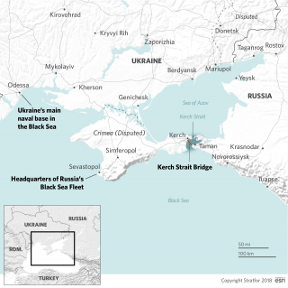 A map shows Ukraine, Russia, the Black Sea, the Sea of Azov and naval headquarters for the two countries.