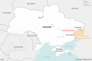 A map of Ukraine, showing the so-called contact line in eastern Ukraine.