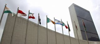 Member countries' flags skirt the U.N. headquarters building in New York City.