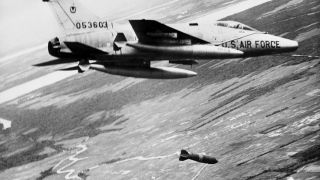 A U.S. Air Force F-100 bombs a military target near Saigon on Feb. 8, 1965. The argument remains that the United States could have beaten North Vietnam by committing more forces.