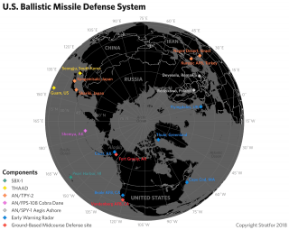 A map showing the U.S. ballistic missile defense network
