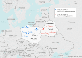 This map shows locations in Poland and Belarus where NATO and Russia could deploy more military forces.