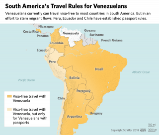 A map showing South Americas travel rules for Venezuela.