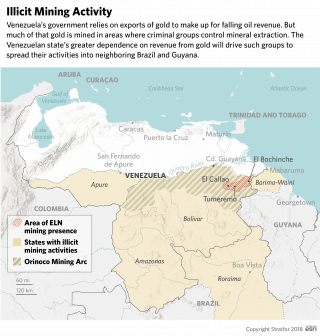 A graphic showing illegal mining in Venezuela