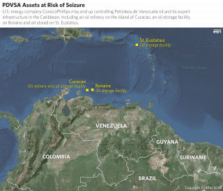 A map shows the locations of PDVSA assets at risk of seizure