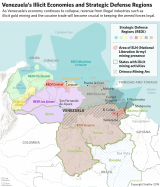 A chart showing Venezuela's illicit economies and strategic defense regions