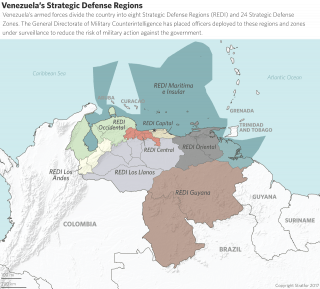 Venezuela's armed forces divide the country into eight Strategic Defense Regions and 24 Strategic Defense Zones.