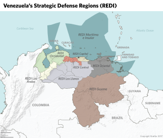 A map of Venezuela's strategic defense regions.