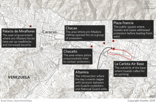 A map showing flashpoints between Nicolas Maduro's government and Venezuela's opposition in Caracas.