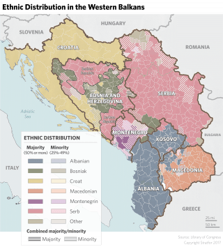 A map showing the ethnic distribution in the Western Balkans