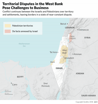 A map shows the disputed areas in Israel and the Palestinian territories.