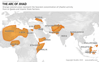 Map depicting Jihadist activity by al Qaeda and the Islamic State marked in orange.