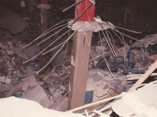 Rubble and debris cover the basement of the World Trade Center's North Tower.