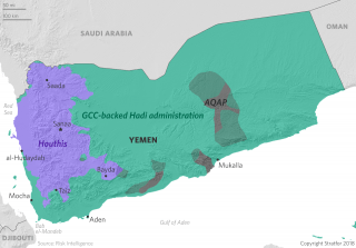 A map showing areas of control in Yemen.