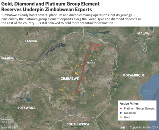 This map shows the location of gold, diamond and platinum reserves in Zimbabwe.